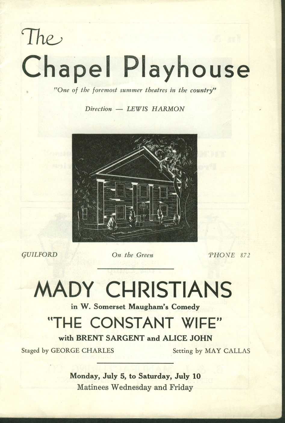 Chapel Playhouse Madu Christians Constant Wife 1930s