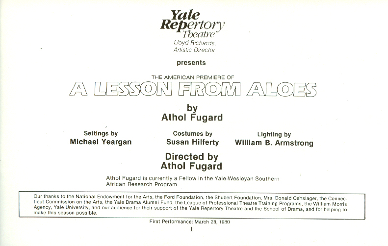 A Lesson From Aloes James Earl Jones Yale Repertory Theatre Program 1980
