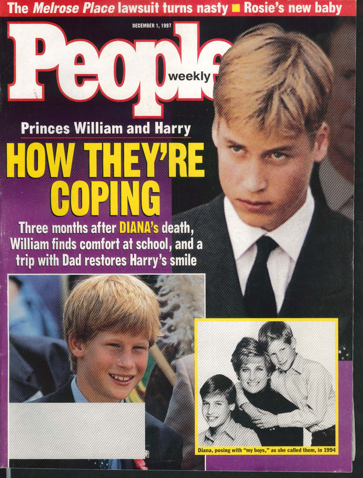 PEOPLE Prince William Harry Diana Melrose Place Rosie O'Donnell 12/1 1997