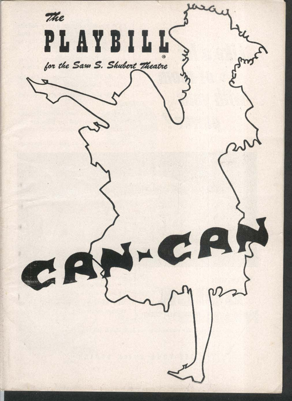 Can-Can Playbill Sam S Shubet Theatre 1953 Lilo Peter Cookson