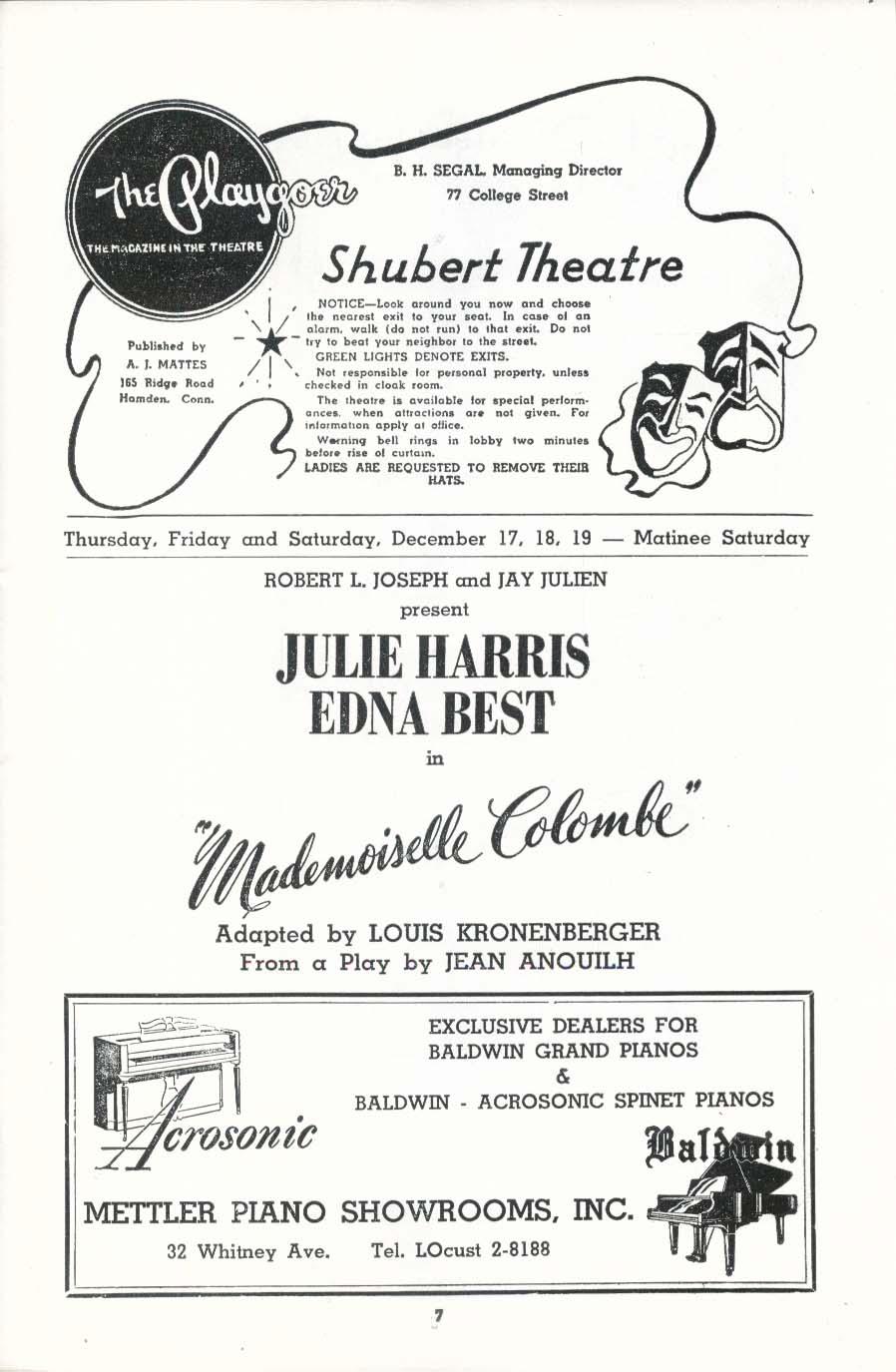 Shubert Theatre New Haven program Mademoiselle Colombe 1953 pre-Broadway