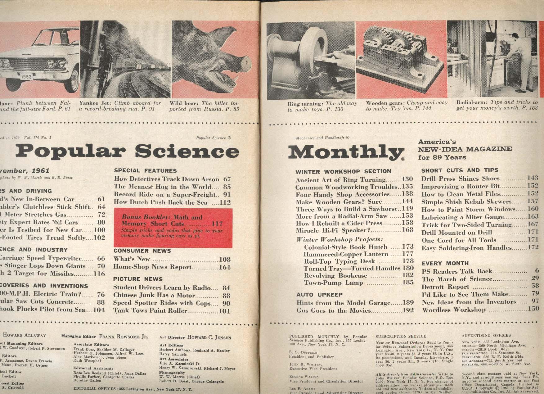 POPULAR SCIENCE 1962 Ford Fairlane Rambler Skyhook Shish Kebab Skewers 11 1961