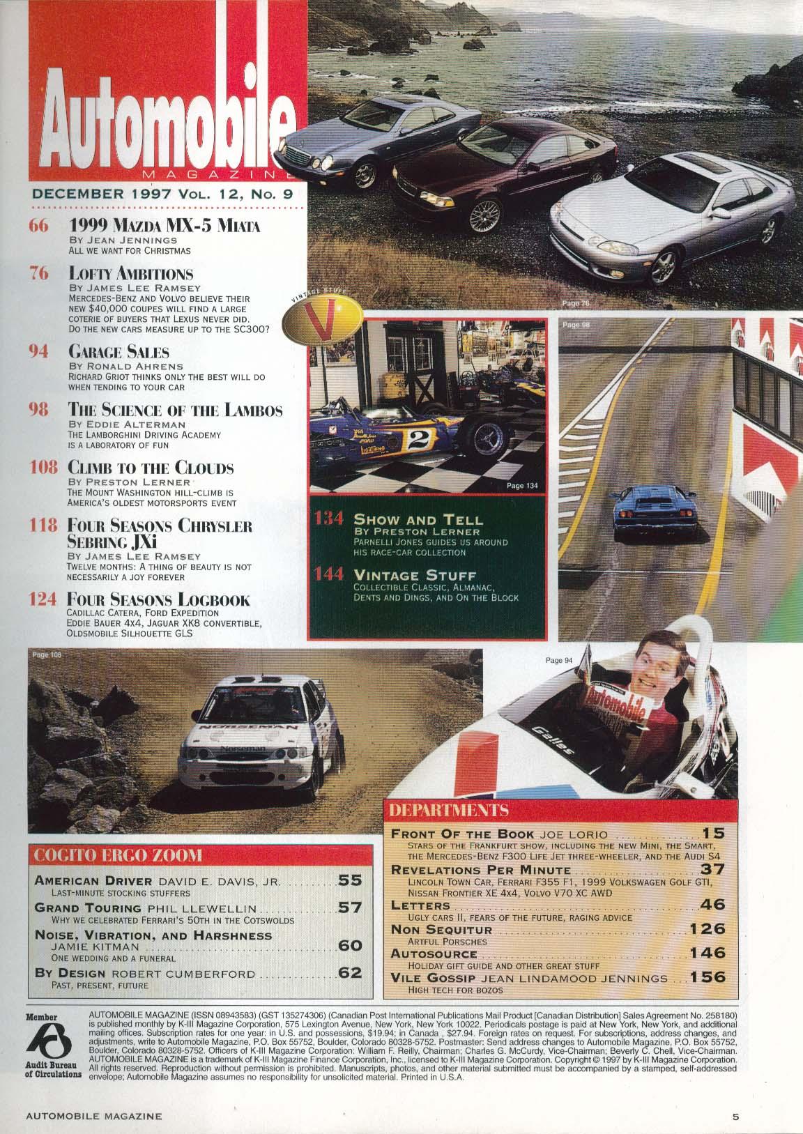 AUTOMOBILE Mazda MX-5 Miata Lamborghini Diablo Lincoln Towncar Volvo V70 12 1997