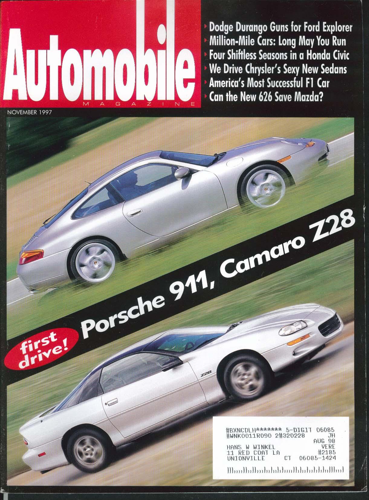 AUTOMOBILE Porsche 911 Camaro Z28 Dodge Durango Honda Civic Mazda 626 11 1997