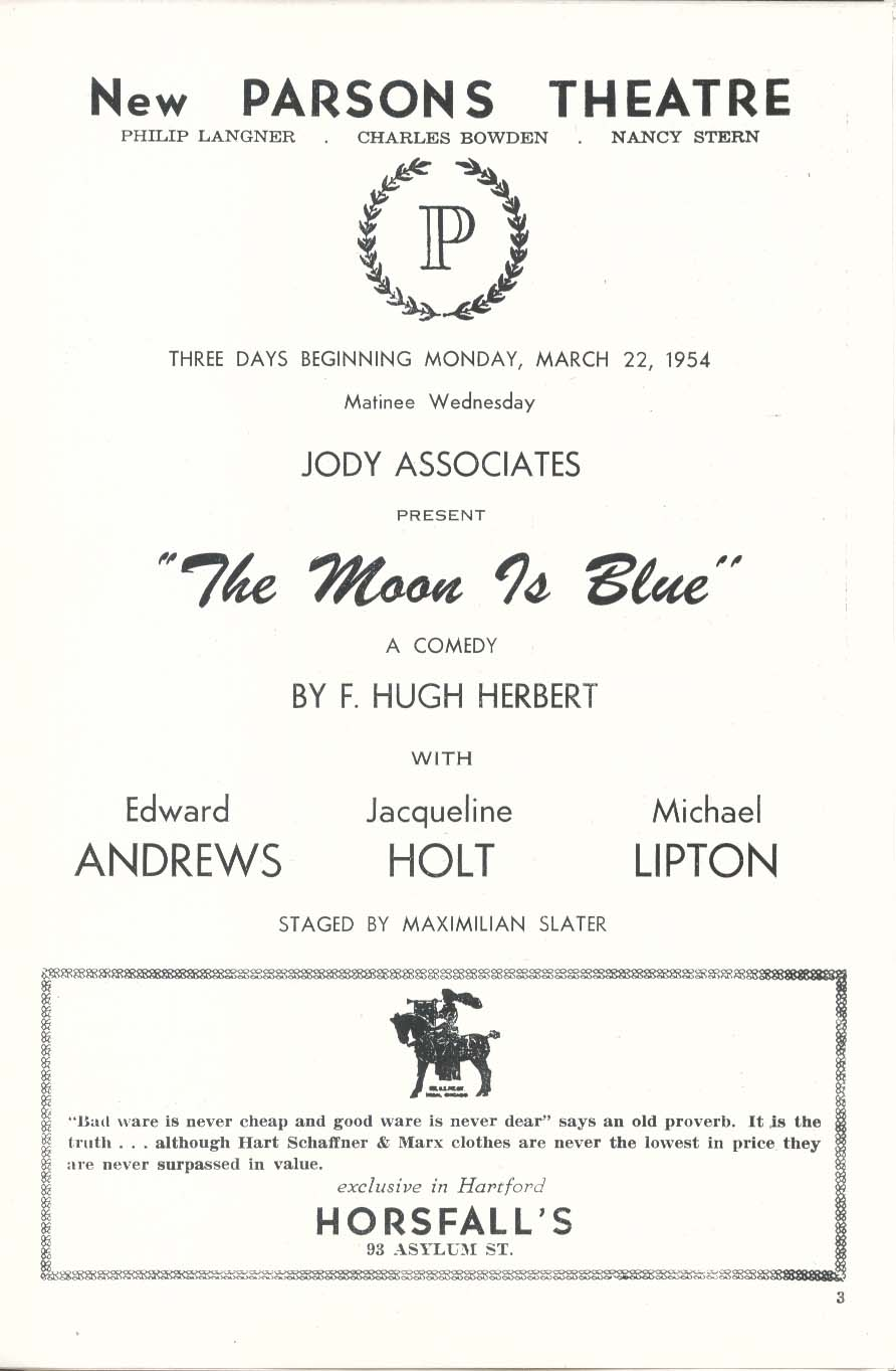 Moon is Blue Edward Andrews Parsons Theater program Hartford CT 3/22 1954