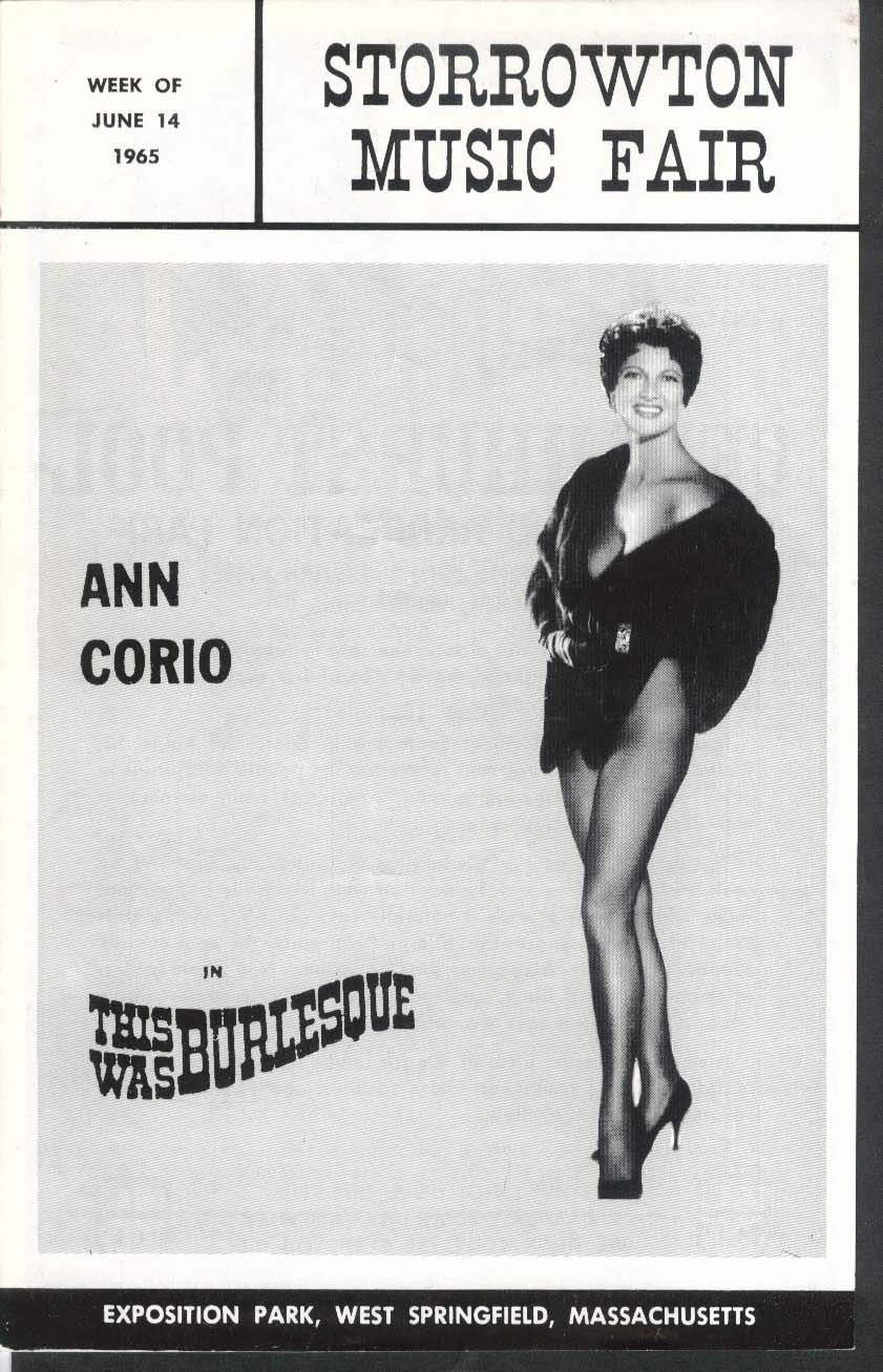 Ann Corio This Was Burlesque Storrowton Music Fair program 6/14 1965