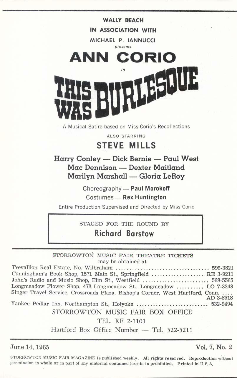 Ann Corio This Was Burlesque Storrowton Music Fair program 6/14 1965