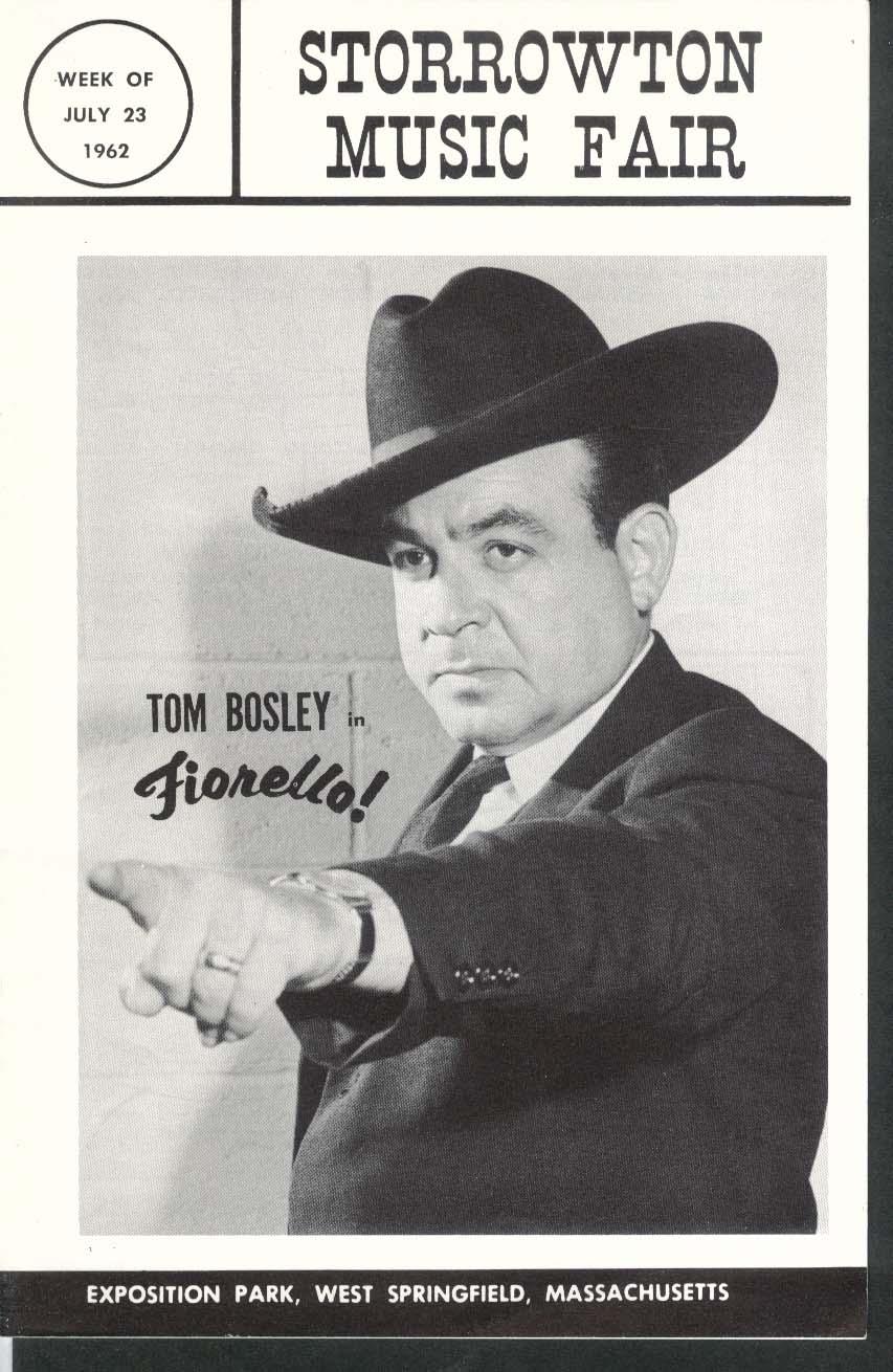 Fiorello! Tom Bosley Storrowton Music Fair program 7/23 1962