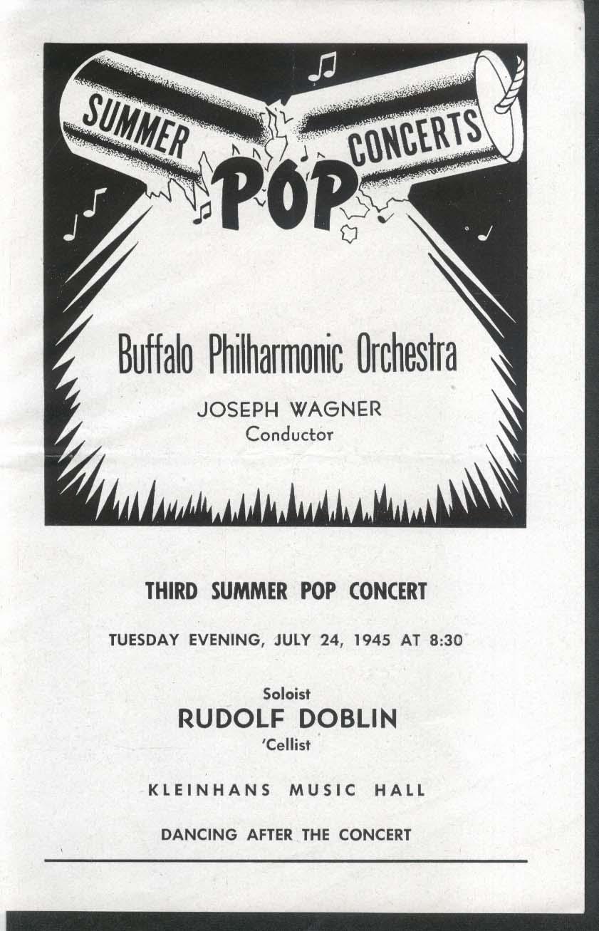 3rd Summer Pop Concert Rudolf Doblin Buffalo Philharmonic Orchestra 7/24 1945