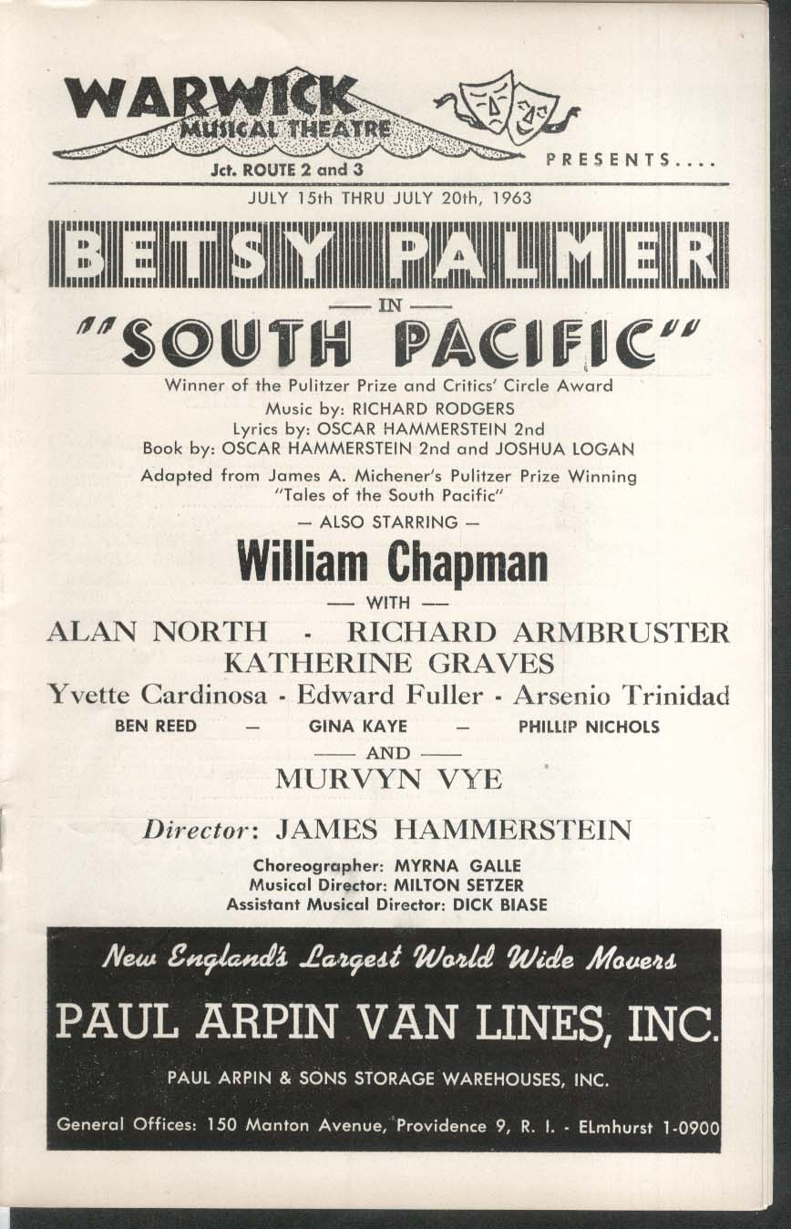 South Pacific Betsy Palmer Warwick Theatre program 1963