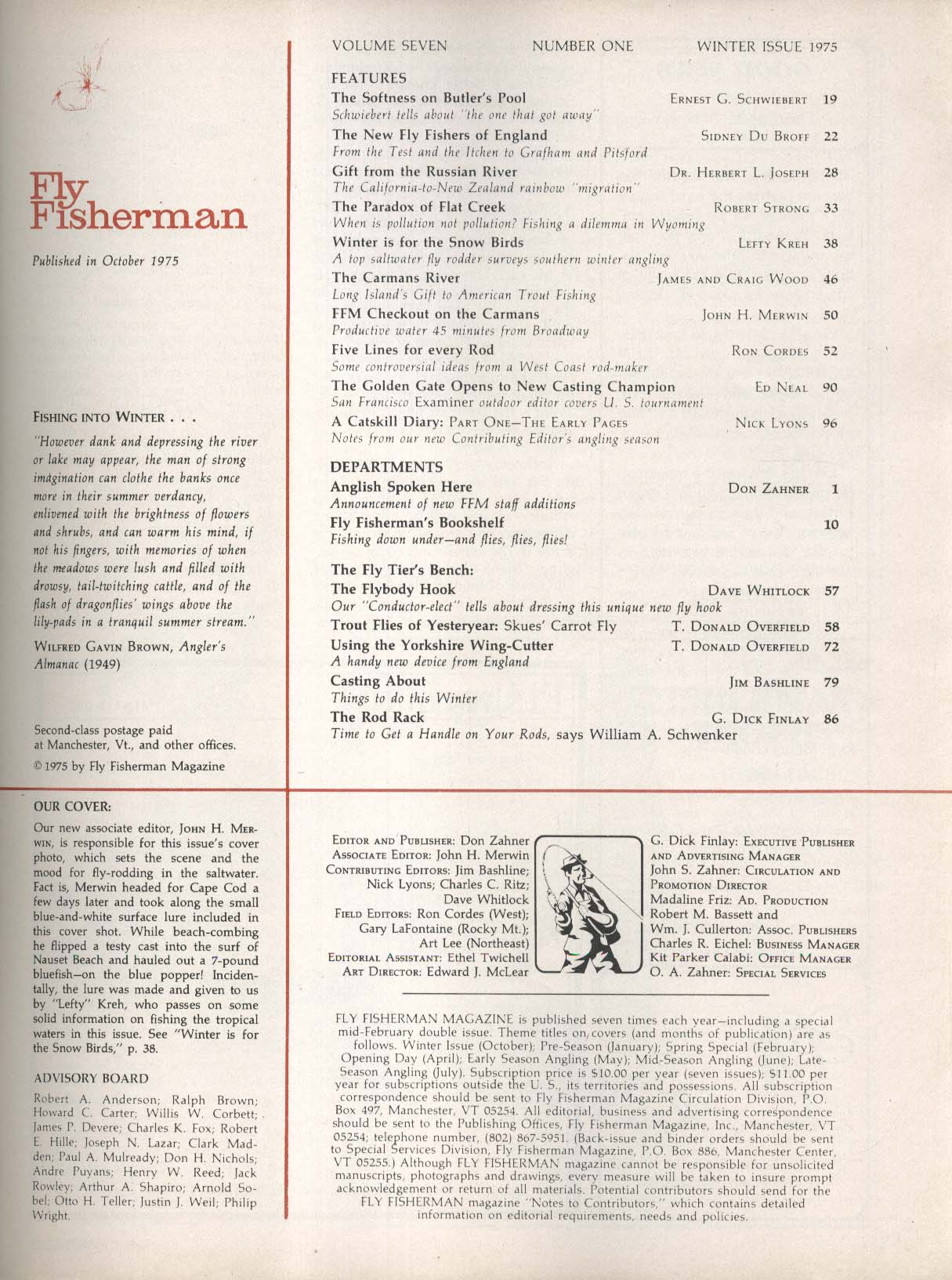 FLY FISHERMAN Winter Issue 1975 Russian River Angling