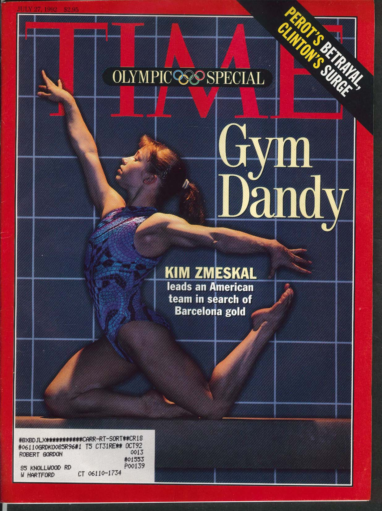 TIME Kim Zmeskal Shannon Miller Ross Perot Bill Clinton 7/27 1992
