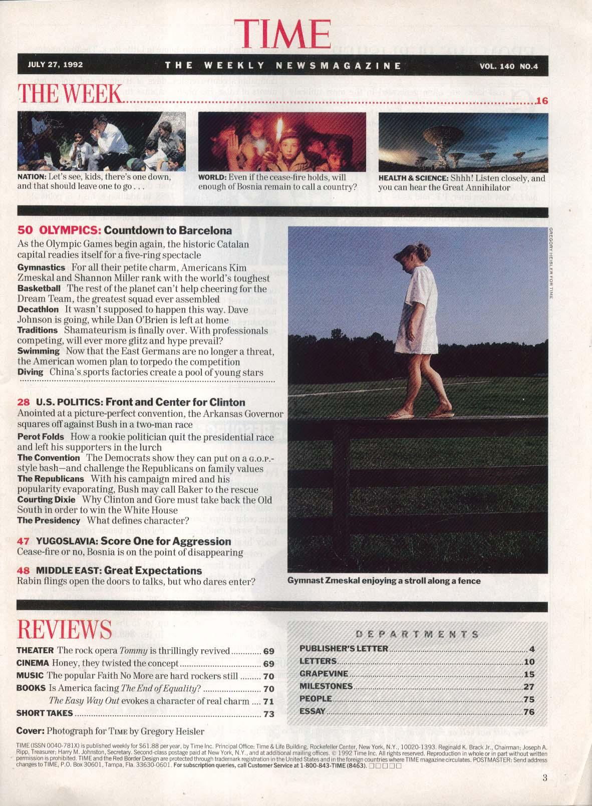 TIME Kim Zmeskal Shannon Miller Ross Perot Bill Clinton 7/27 1992