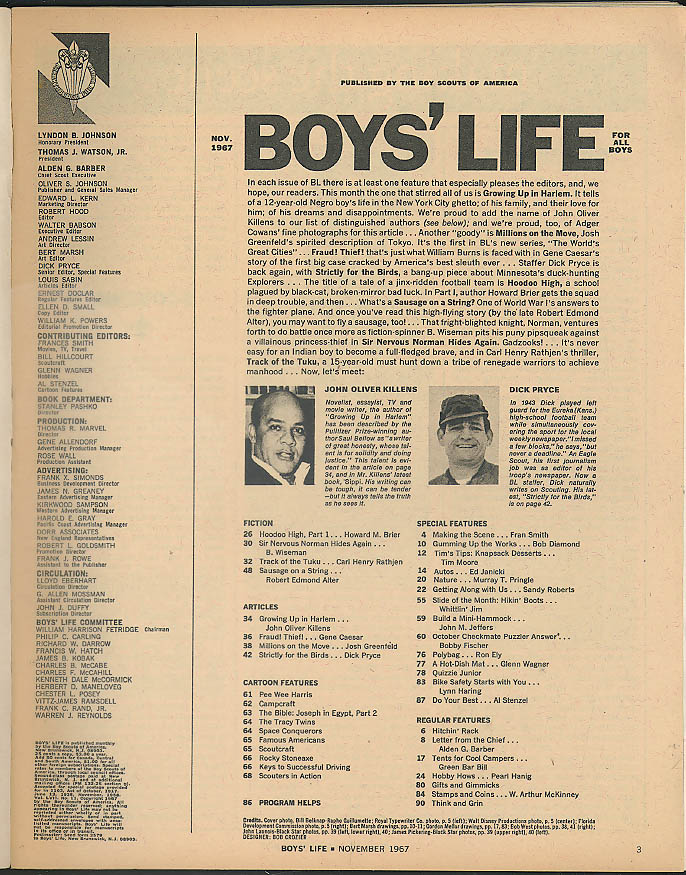 BOYS LIFE Bird hunting John Oliver Killens Schwinn Detective Bill Burns 11 1967