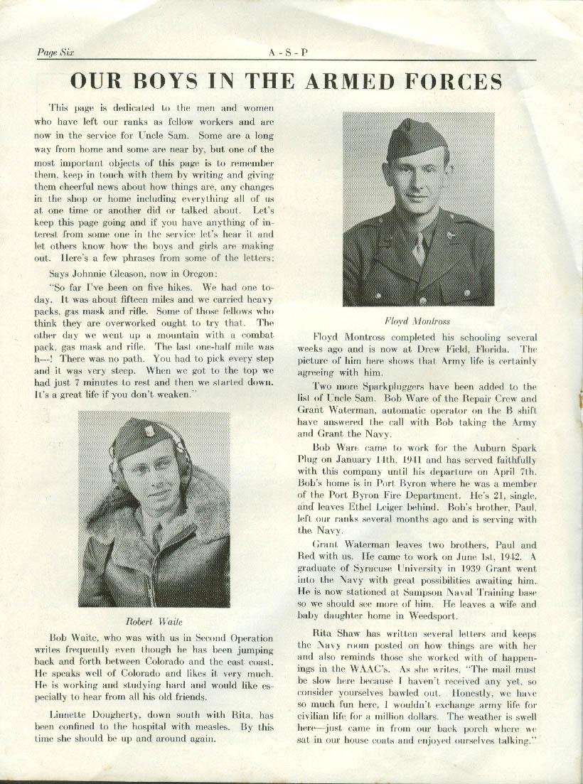 Auburn Spark Plug A-S-P Company Monthly 5/3 1943 war news