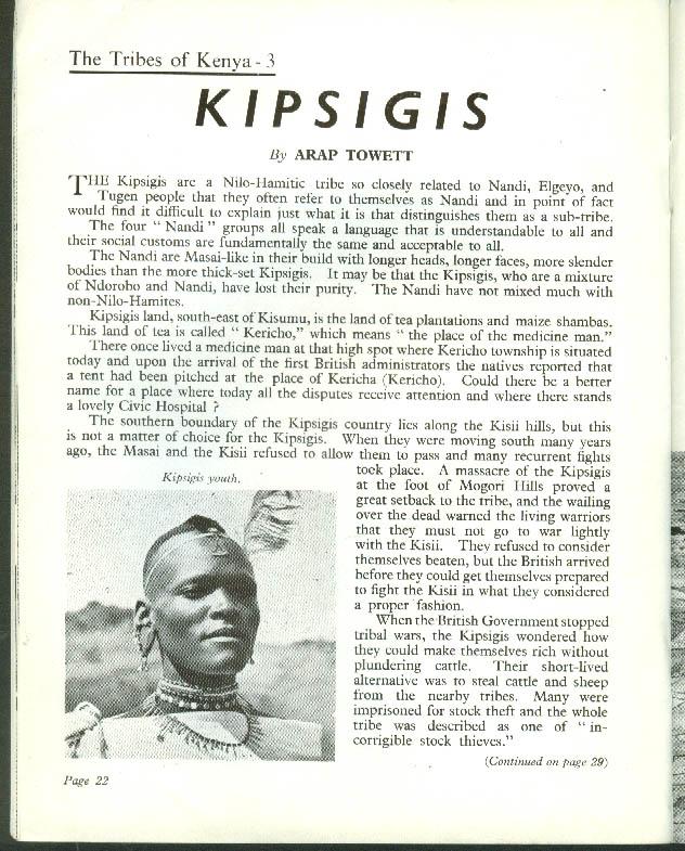 KENYA TODAY 12 1954: Kikuyuland; Kenya Muslims; Kipsigis Tribe