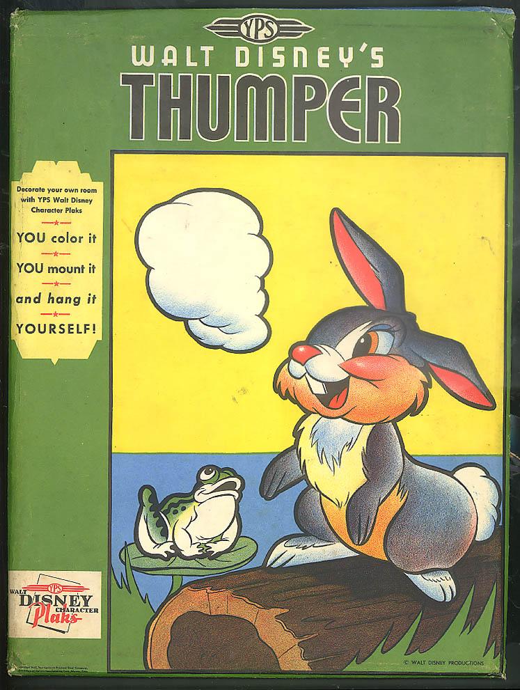 Walt Disney's Thumper YPS Character Plak 1942 uncolored in original envelope