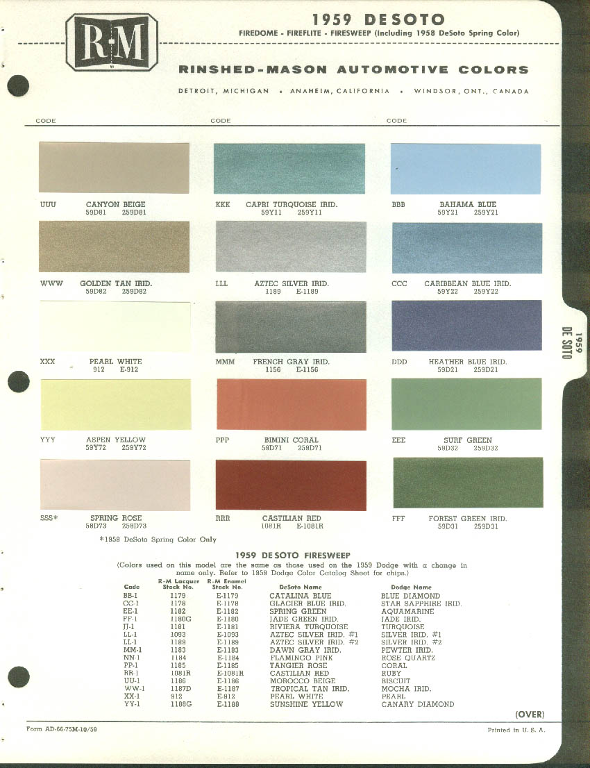 Rinshed mason automotive color paint chip chart 1959 de soto rinshed mason automotive color paint chip chart 1959 de soto desoto 1958 spring nvjuhfo Gallery