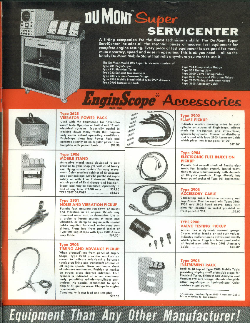 DuMont Automotive Test Equipment catalog 1958