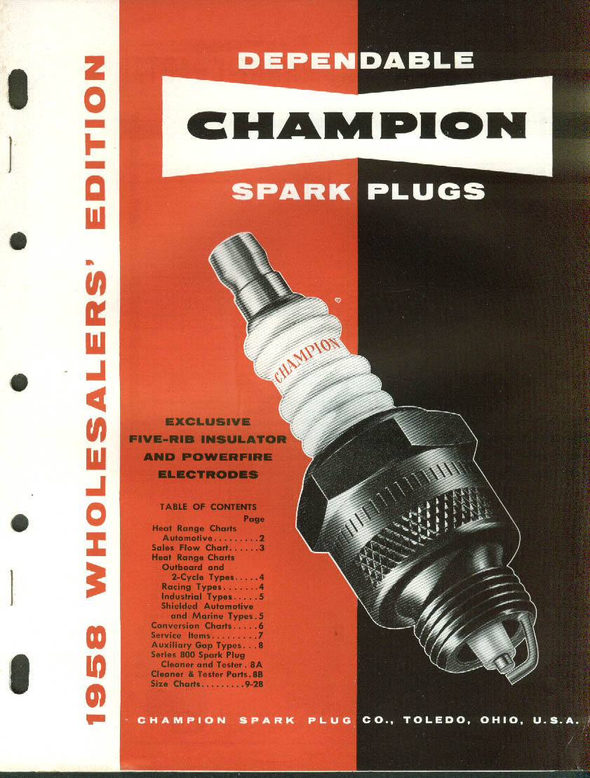Champion Sparkplugs 1958 Wholesaler Catalog cars trucks locomotives etc