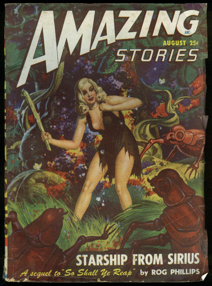 AMAZING STORIES pulp GGA Phillips Tenneshaw Browning Morrison Gray Krupa 8 1948