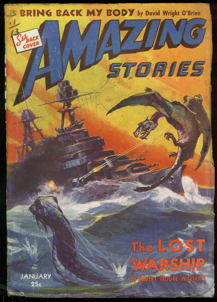 AMAZING STORIES 1 1943 pulp Williams O'Brien Garson Coblentz Yerxa McGivern