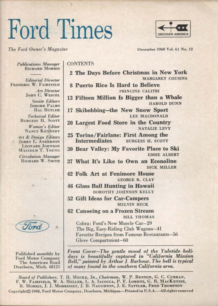 FORD TIMES Torino Fairlane Puerto Rico 12 1968
