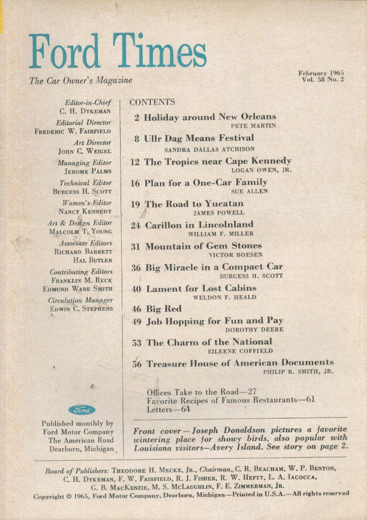FORD TIMES New Orleans Pete Martin Yucatan James Powell 2 1965