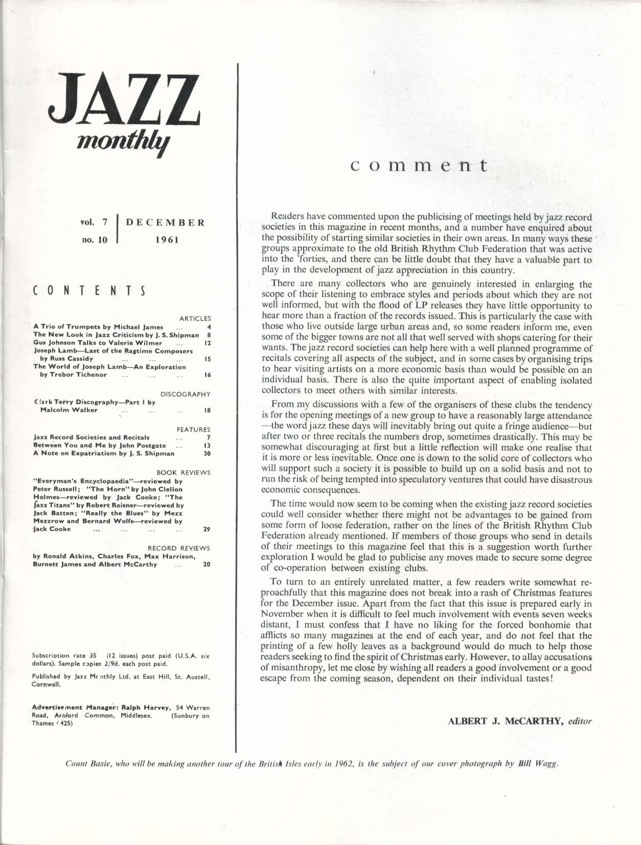 JAZZ MONTHLY Gus Johnson Clark Terry Count Basie 12 1961
