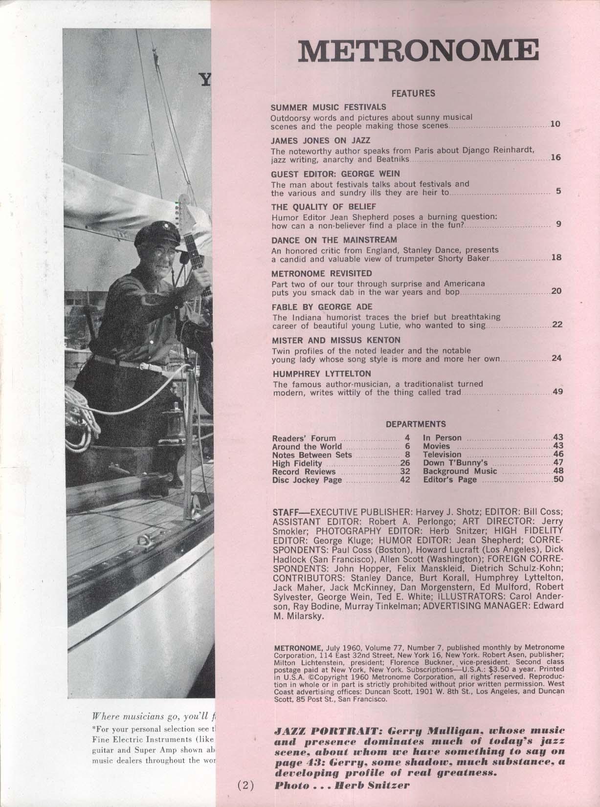METRONOME James Jones George Wein Humphrey Lyttelton 7 1960