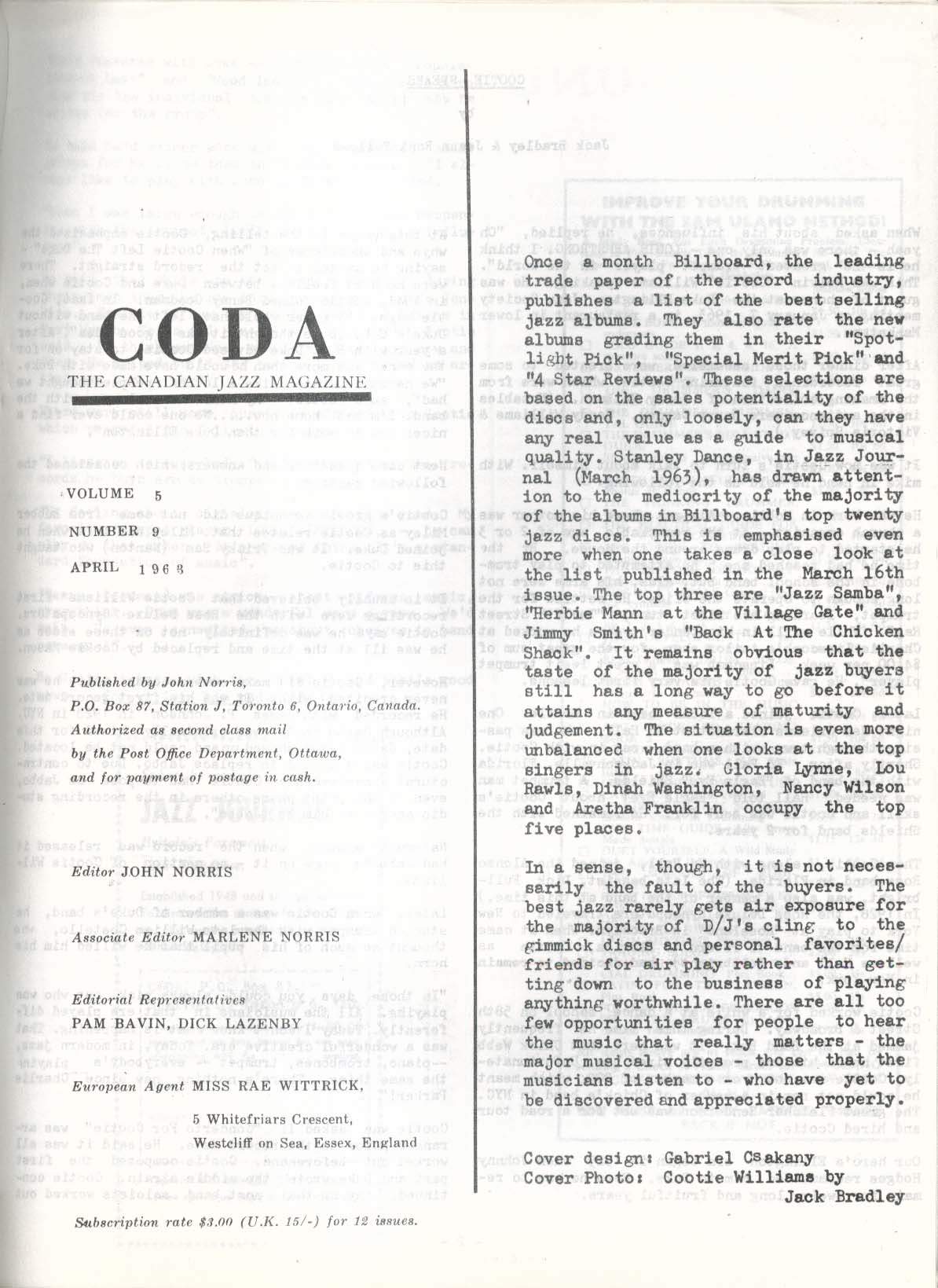 CODA V5 #9 Canadian Jazz Magazine Cootie Williams 4 1963