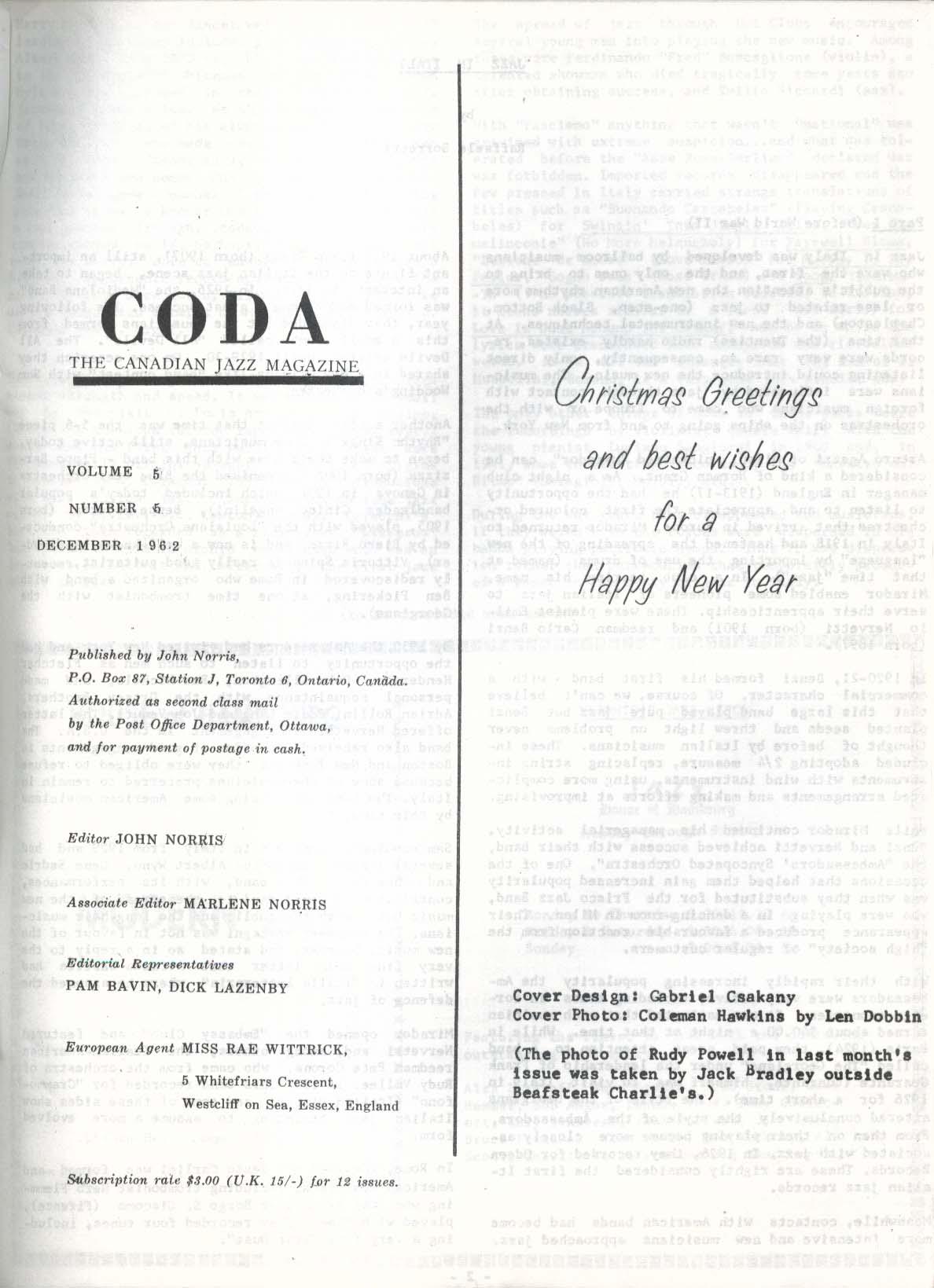 CODA V5 #5 Canadian Jazz Magazine Coleman Hawkins 12 1962