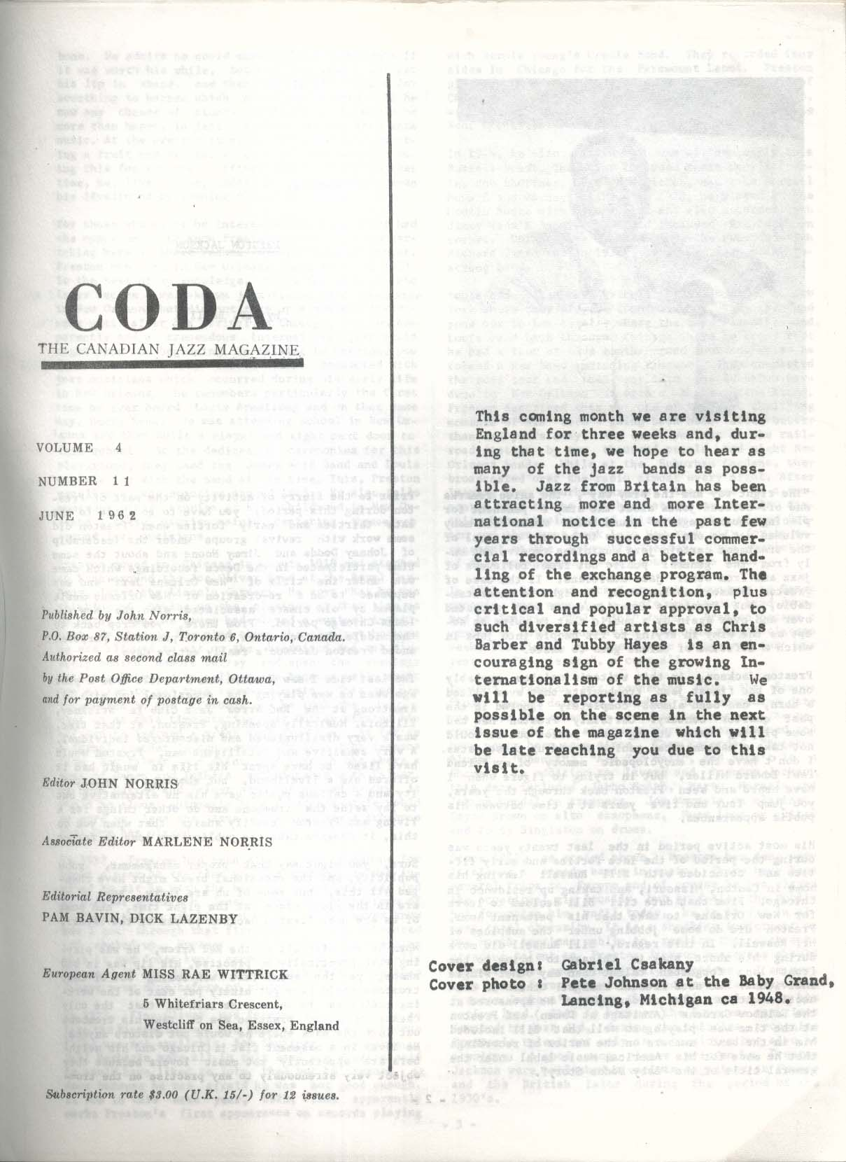 CODA V4 #11 Canadian Jazz Magazine Pete Johnson 6 1962