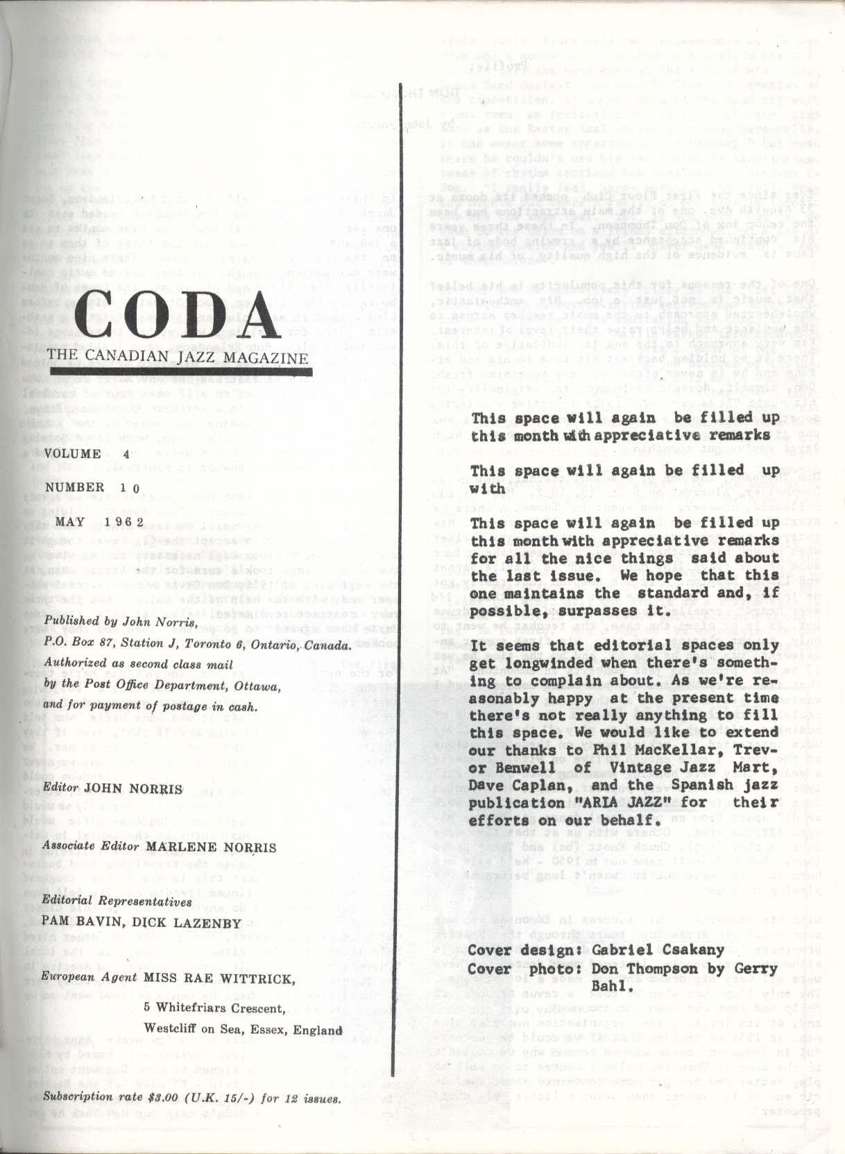 CODA V4 #10 Canadian Jazz Magazine Gabriel Csakany 5 1962