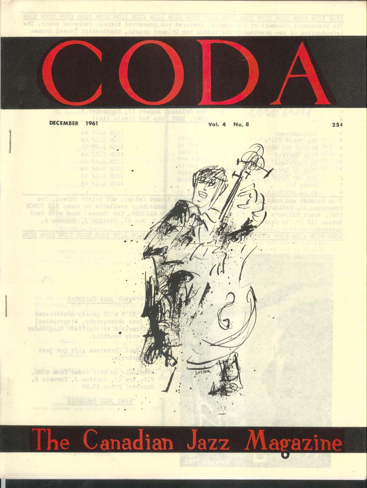 CODA V4 #8 Canadian Jazz Magazine Fletcher Henderson New Orleans 12 1961