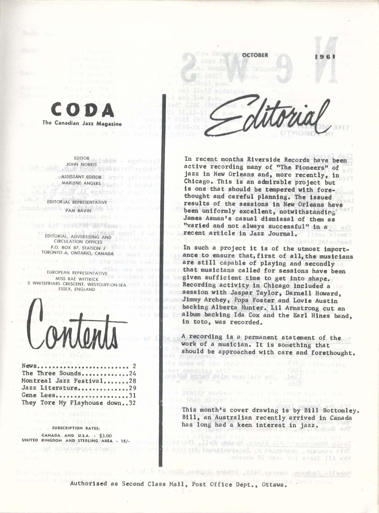 CODA V4 #6 Canadian Jazz Three Sounds Montreal Festival Gene Lees 10 1961