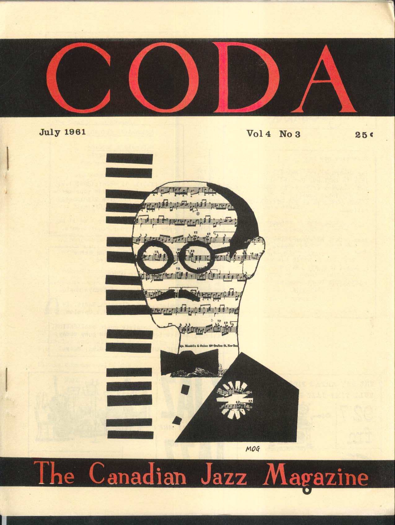 CODA V4 #3 Canadian Jazz Magazine Don Ewell Ron Collier Stan Kenton 7 1961