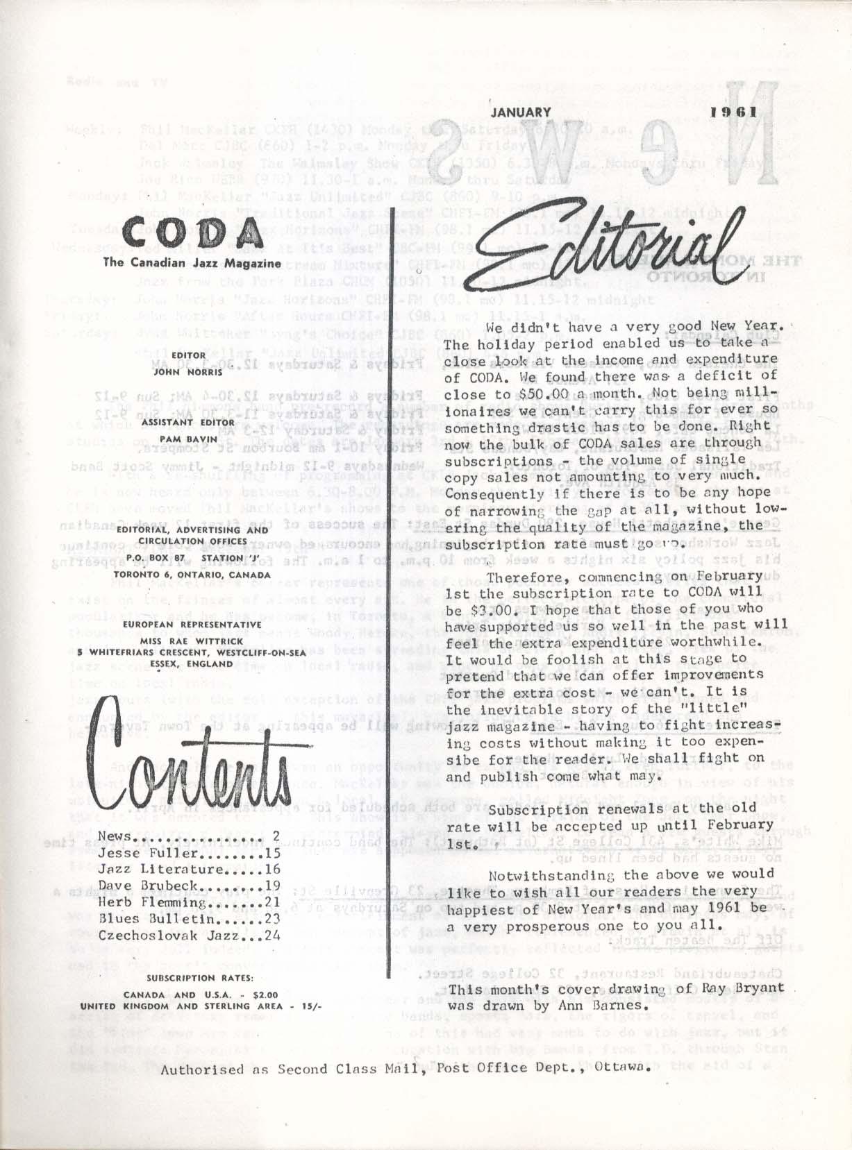 CODA V3 #9 Canadian Jazz Magazine Jesse Fuller Dave Brubeck Herb Flemming 1 1961