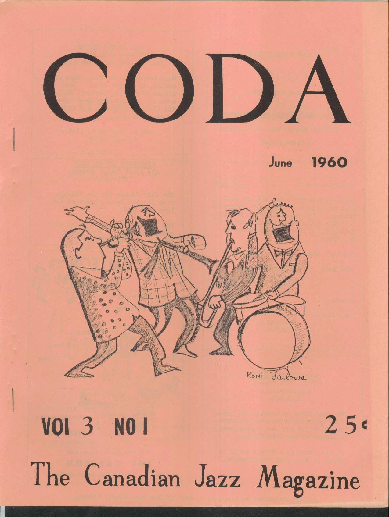 CODA V3 #1 Canadian Jazz Magazine Kewpie Doll Kant Argue 6 1960