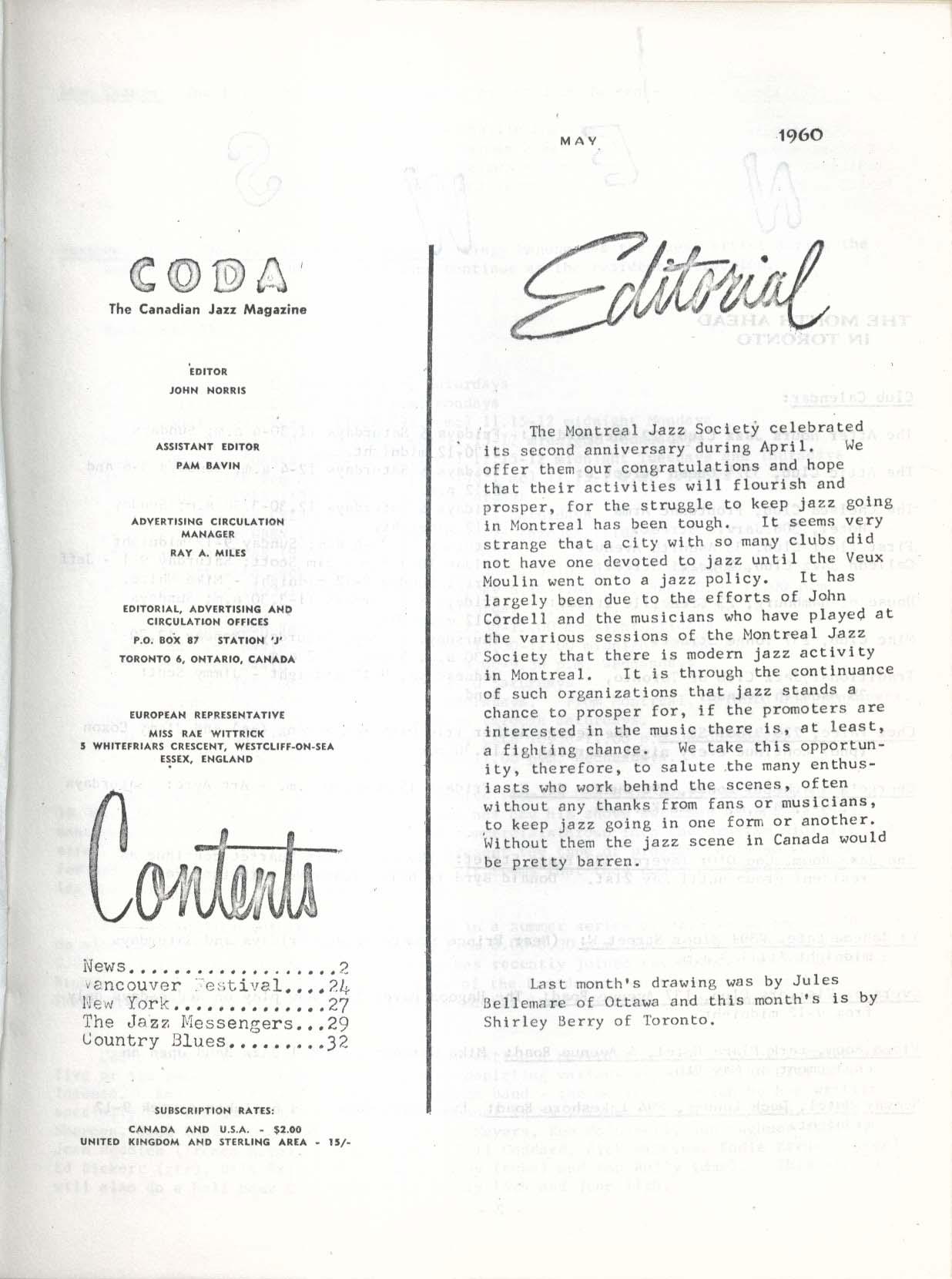 CODA V3 #1 Canadian Jazz Magazine Vancouver Festival 5 1960