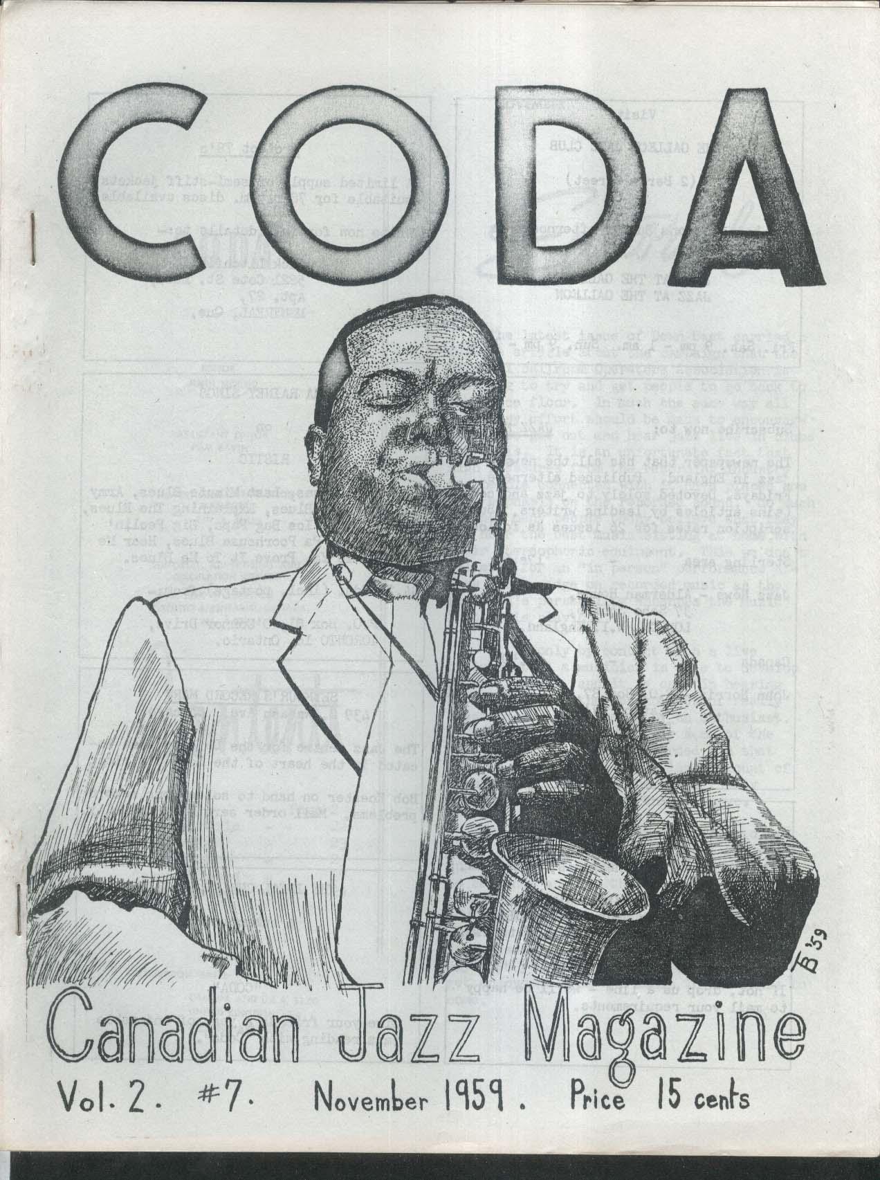 CODA V2 #7 Canadian Jazz Magazine Paul Barbarin Kant Argue Chris Barber 11 1959