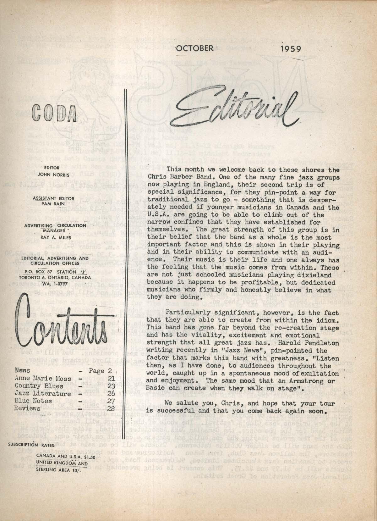CODA V2 #6 Canadian Jazz Magazine Anne Marie Moss 10 1959