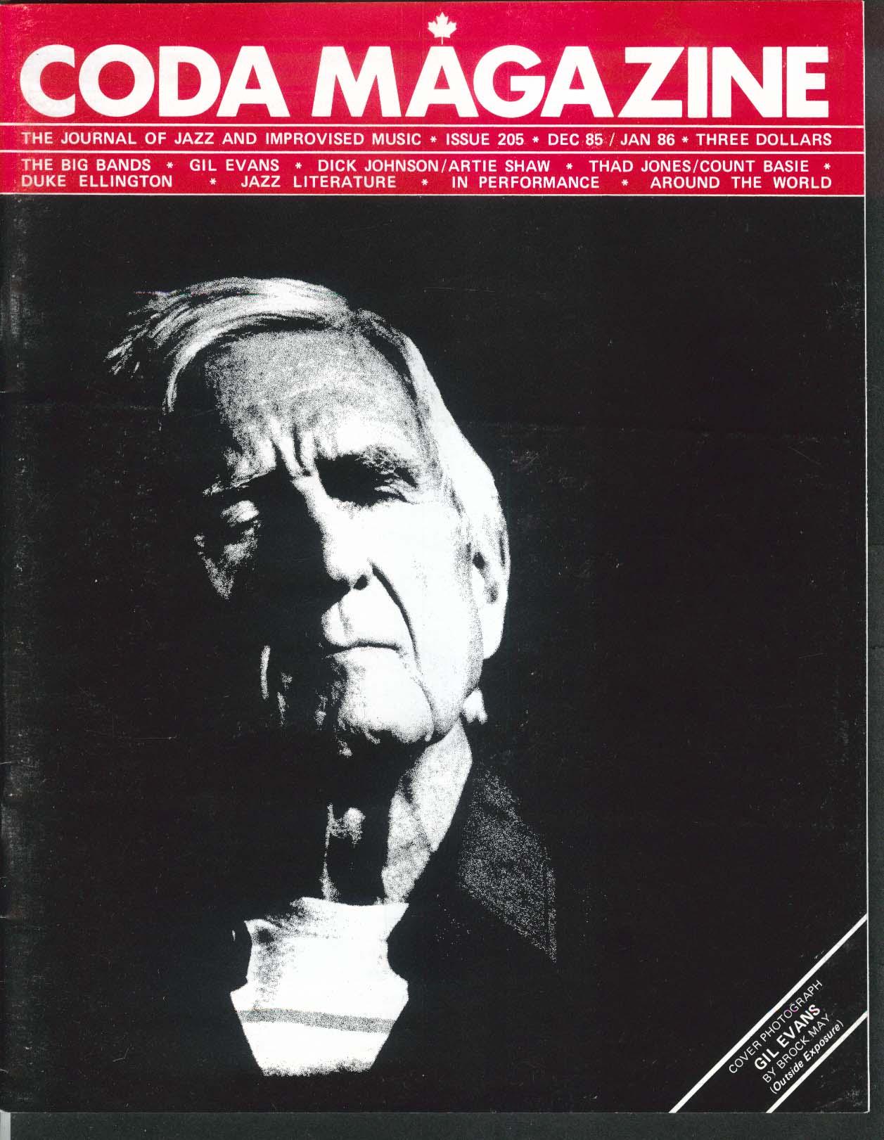CODA #205 Gil Evans Dick Johnson Artie Shaw Thad Jones Count Basie + 12 1985