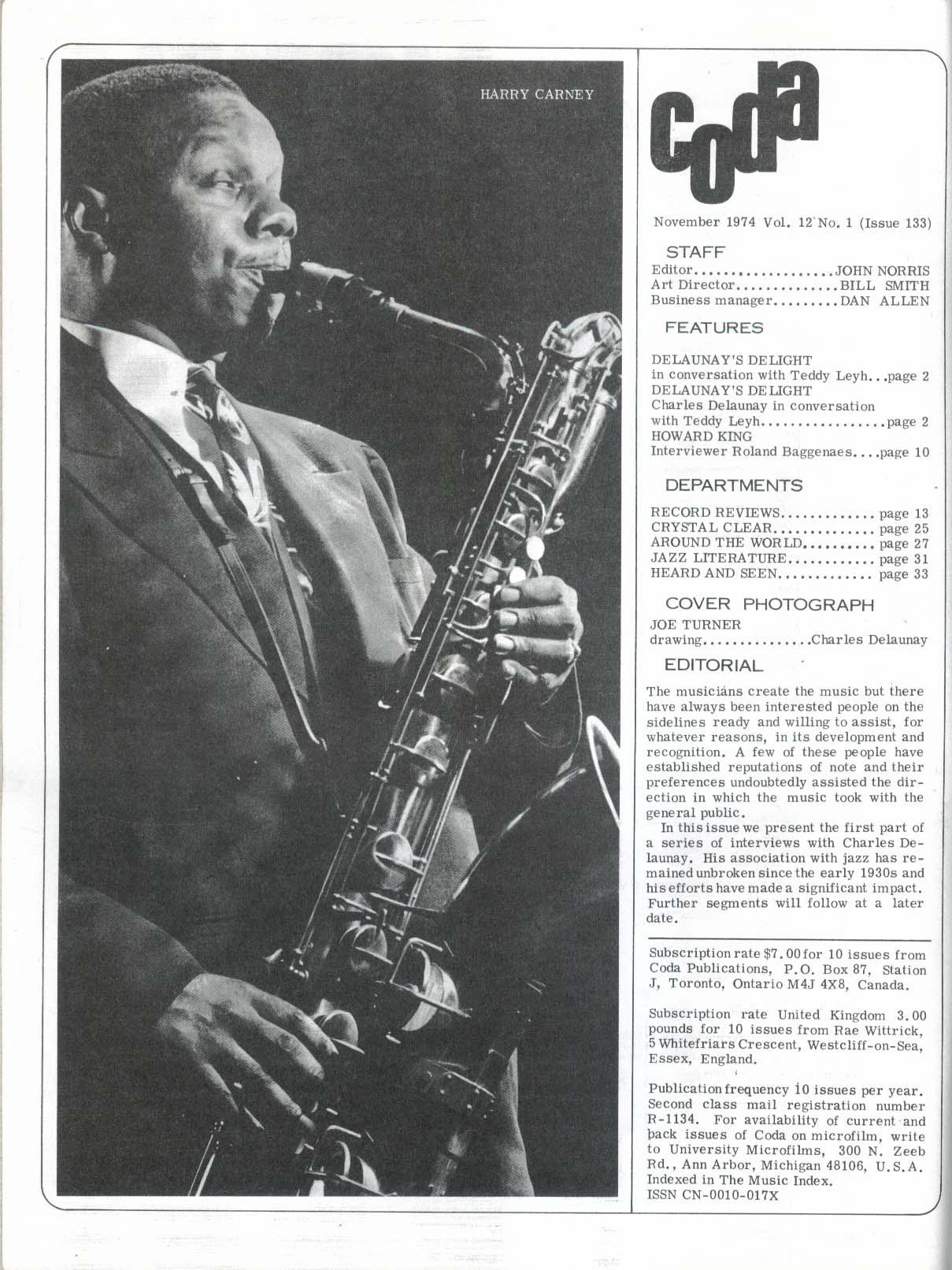 CODA Charles Delaunay Howard King Rex Stewart Jazz Literature 11 1974