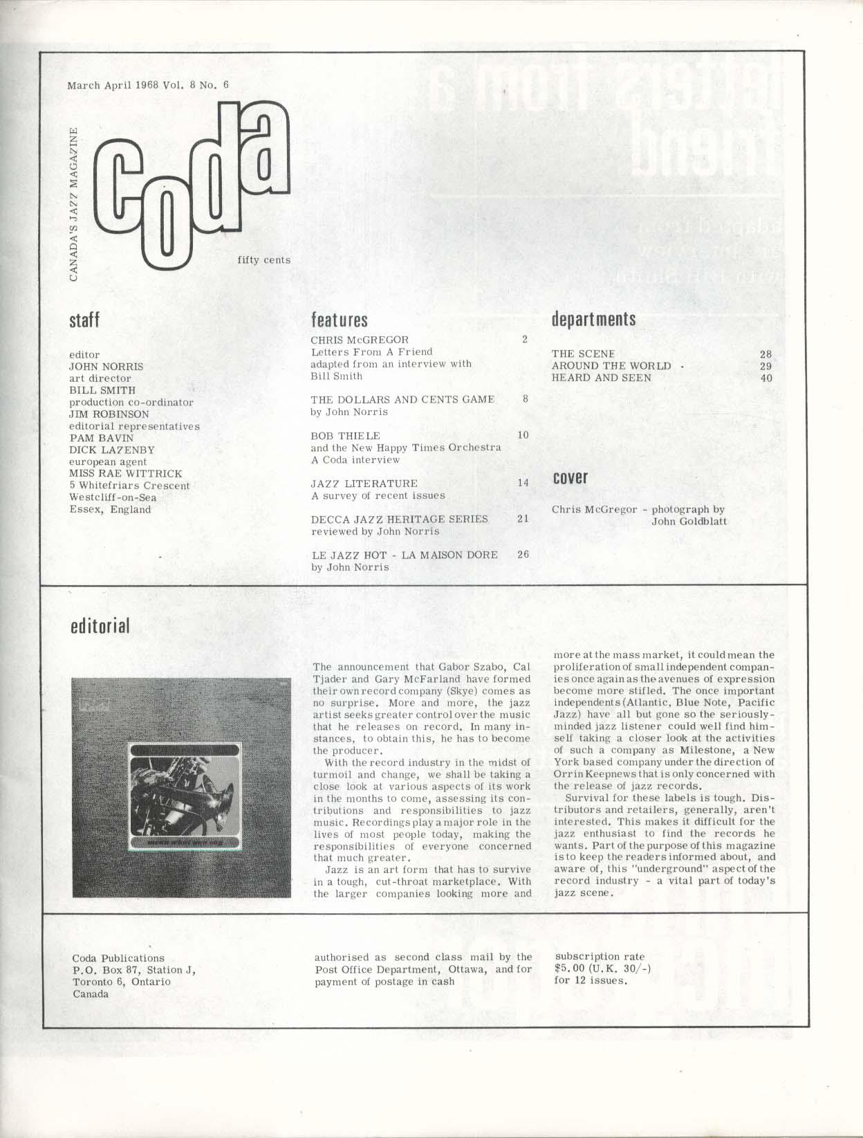 CODA Chris McGregor Bob Thiele Le Jazz Hot La Maison Dore 3 1968