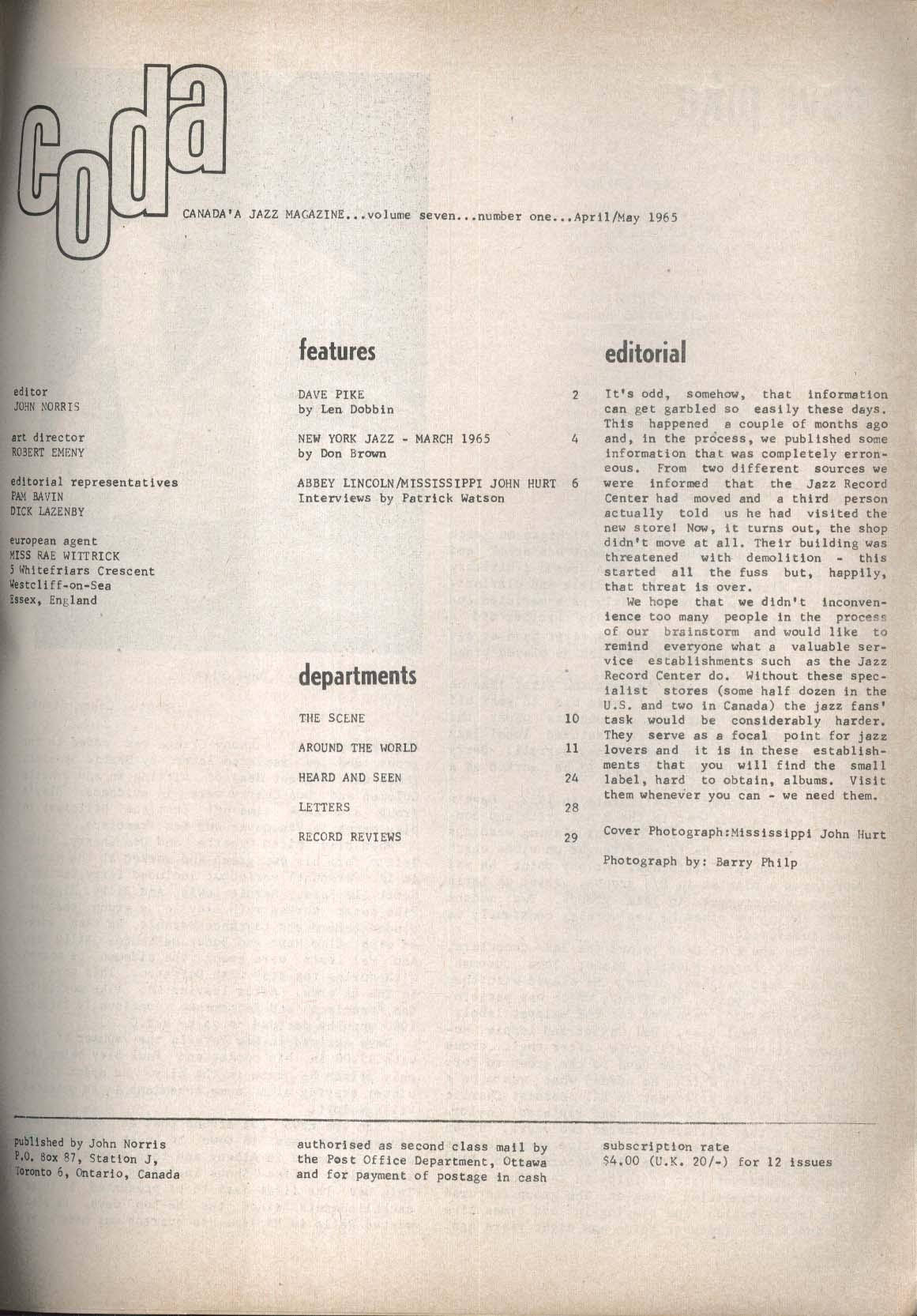 CODA Dave Pike Abbey Lincoln Mississippi John Hurt 4-5 1965