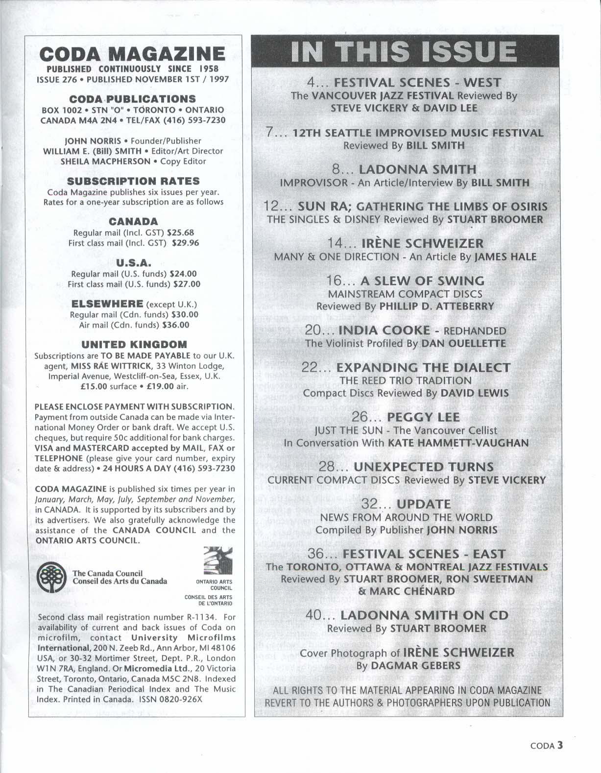CODA #276 Irene Schweizer Ladonna Smith India Cooke Peggy Lee Sun Ra 11-12 1997