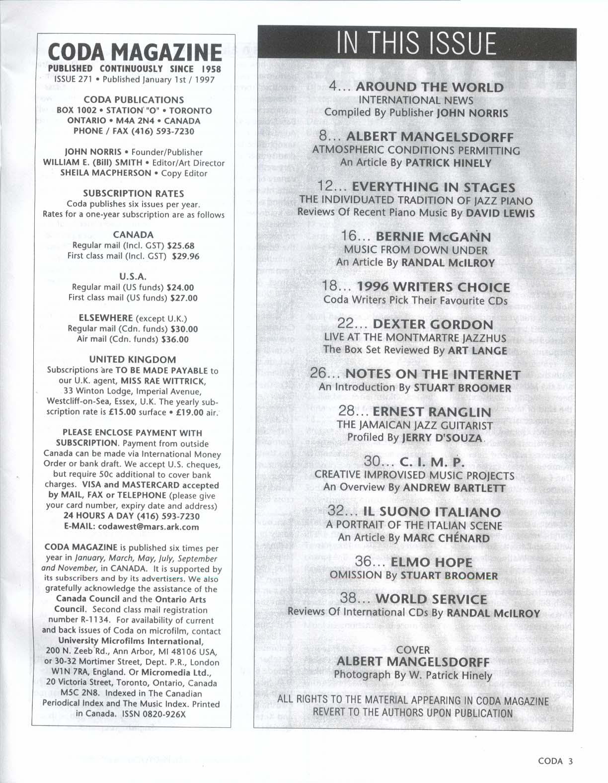CODA #271 Albert Mangelsdorff Ernest Ranglin Bernie McGann Elmo Hope + 1-2 1997