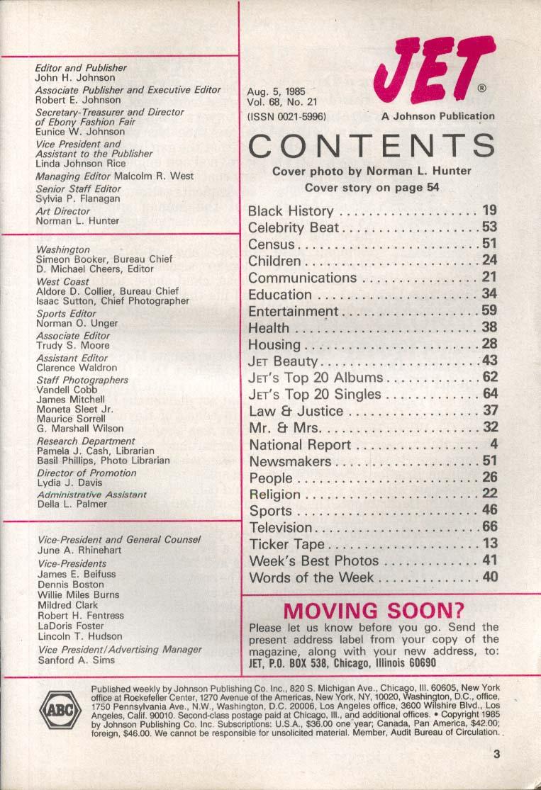 JET Jayne Kennedy Bill Overton Jimmy Carter 8/5 1985