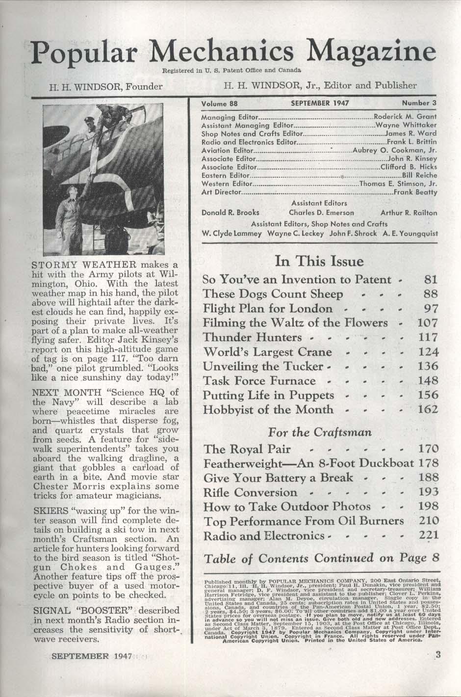POPULAR MECHANICS Patenting Inventions London Flight Plan Thunder Hunters 9 1947